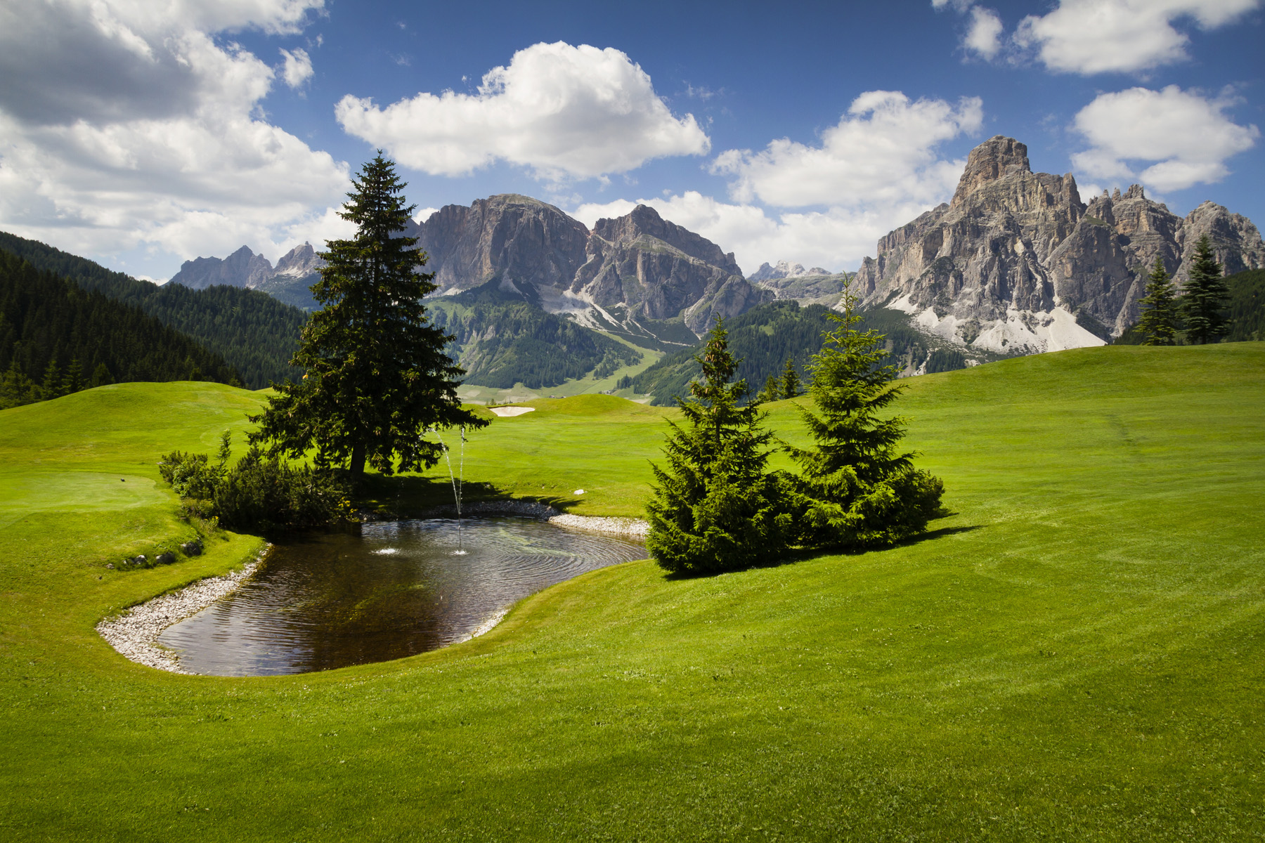 Beautiful golf course in the mountains with spectacular views